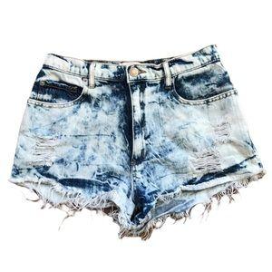 Garage   Acid wash tie dye distressed jean shorts